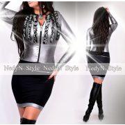 NedyN ezüst- fekete 3 fodros női ruha