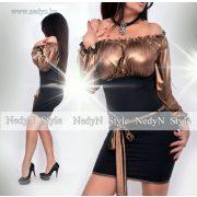 NedyN bronz  színű vállra húzható alkalmi női ruha