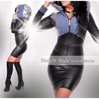 NedyN ezüst kék fekete cipzáros női kardigán szürke szőrmés kapucnival