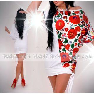 NedyN fehér virág mintás megkötős Diaz ruha