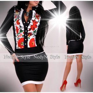 NedyN fekete virág mintás zsabós női ruha fehér
