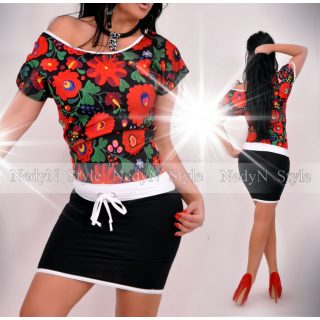NedyN fekete virág mintás Kriszty ruha