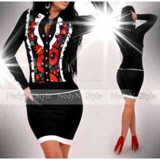 NedyN fekete virág mintás zsabós női ruha fekete