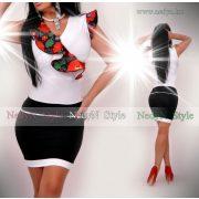 NedyN átlapolt fodros női ruha fekete virág mintás