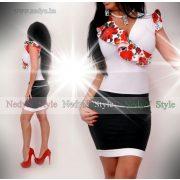 NedyN  fehér virág mintás átlapolt fodros női ruha