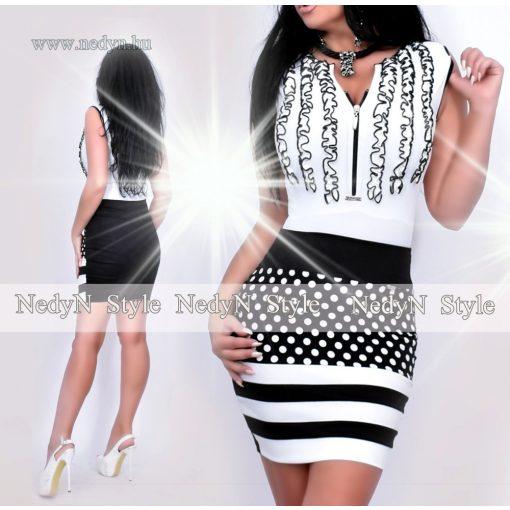 Nedyn 3 fodros női felső  fehér fekete fodros cipzáros - szoknya nélkül