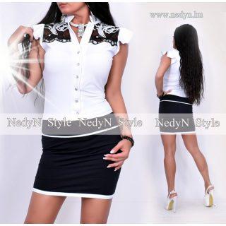 NedyN fehér fekete vállánál csipkés alkalmi női ruha
