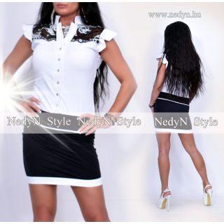 NedyN fehér fekete csipkés díszes alkalmi női ruha