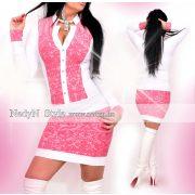 NedyN fehér  rózsaszín virág mintás női ruha patentos álló galléros