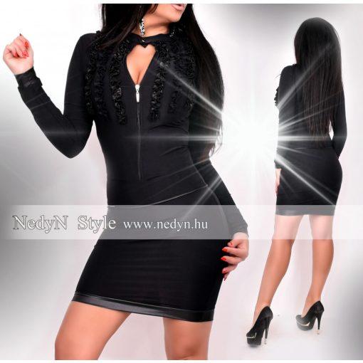 NedyN fekete 3 fodros alkalmi női ruha nyakánál patentos