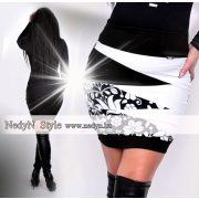 NedyN fehér fekete cikkcakkos női szoknya matyó mintával