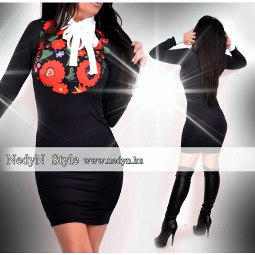 NedyN Pingvin ruha virágmintás felső résszel és fehér megkötővel-Matyó mintás