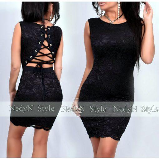 NedyN hátán fűzős elegáns alkalmi csipke női ruha
