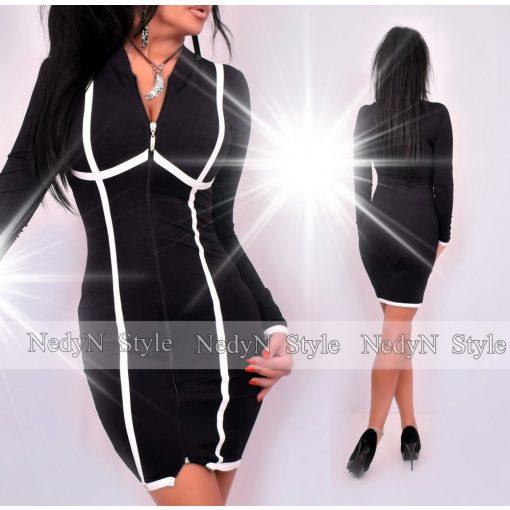 NedyN fekete cipzáros női ruha fehér csíkozással