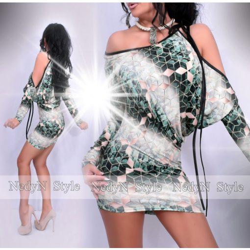 NedyN barna zöld színű négyszögletes mintázatú női ruha vállánál megkötős