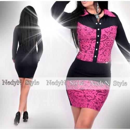 NedyN ciklámen mintás fekete női Kata ruha