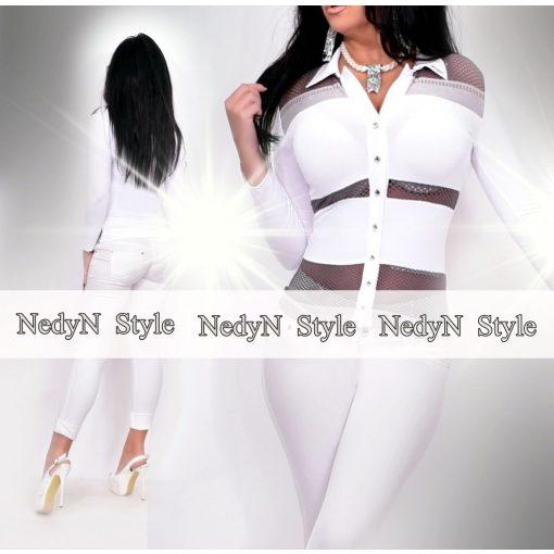 NedyN fehér női Kata ing szürke lyukacsos csíkozással
