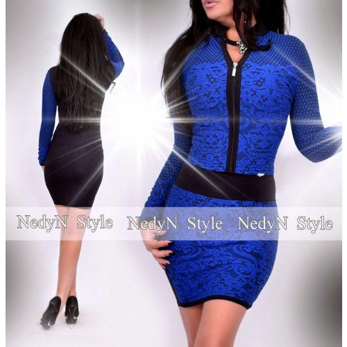 NedyN cipzáros fekete sötétkék színű csipke hatású női ruha