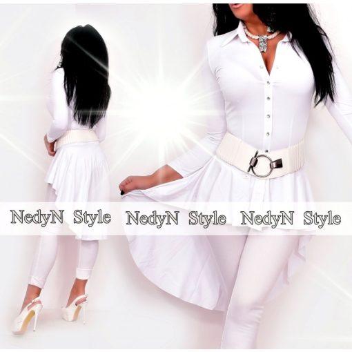 NedyN fehér színű fodros női ing hátul hosszított - öv nélkül