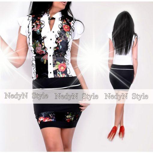 NedyN fehér fekete színű zsabós női ruha színes virágmintás szegéllyel