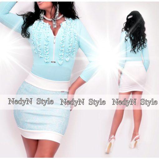 NedyN Aqua kék színű 3 fodros zsabós női felső - szoknya nélkül