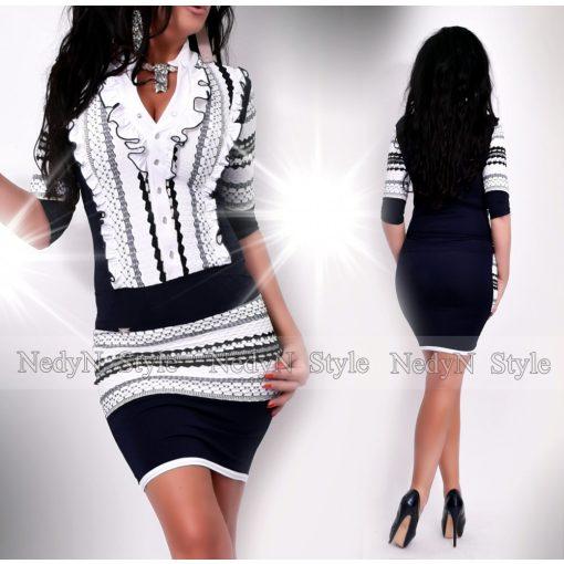 NedyN fehér fekete sötétkék csíkos arany szálas zsabós női ruha