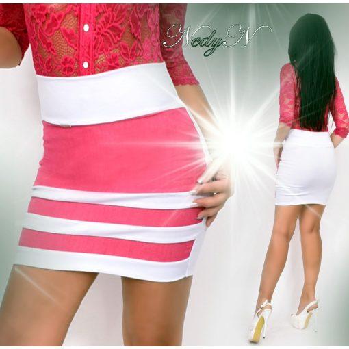 NedyN pink farmer - puntó csíkos női szoknya