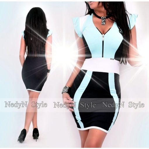 NedyN aqua kék fekete fehér színű cipzáros női ruha