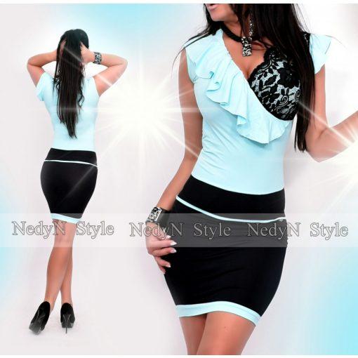NedyN aqua kék fekete átlapolt fodros női ruha csipkével