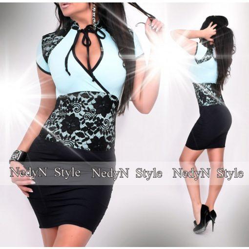 NedyN aqua kék fekete nyakánál megköthető átlapolt női ruha csipkével