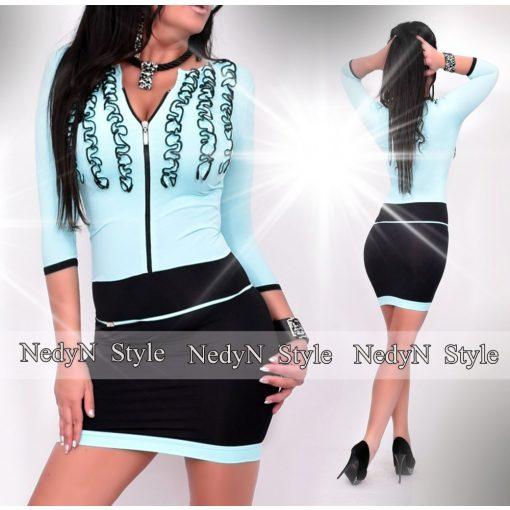 NedyN aqua kék fekete 3 fodros női ruha