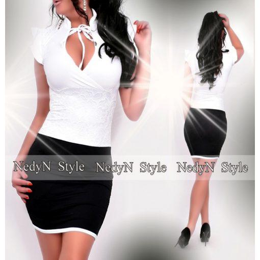 NedyN  fehér fekete színű nyakánál megkötős női ruha csipke díszítéssel