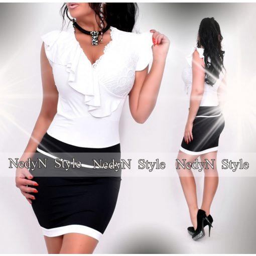 NedyN  fehér fekete színű átlapolt fodros női ruha csipke díszítéssel
