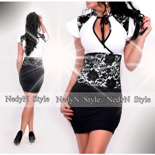 NedyN fekete fehér színű nyakánál megkötős női ruha csipke díszítéssel