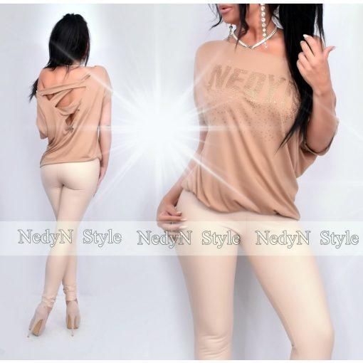 NedyN barna színű bővebb fazonú hátul keresztpántos női felső