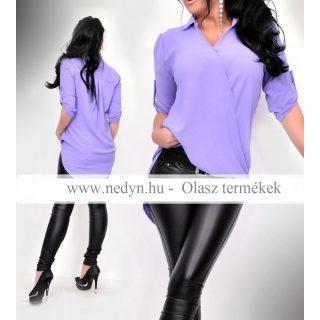 Lila színű elegáns átlapolt ing elöl rövidebb hátul hosszabb