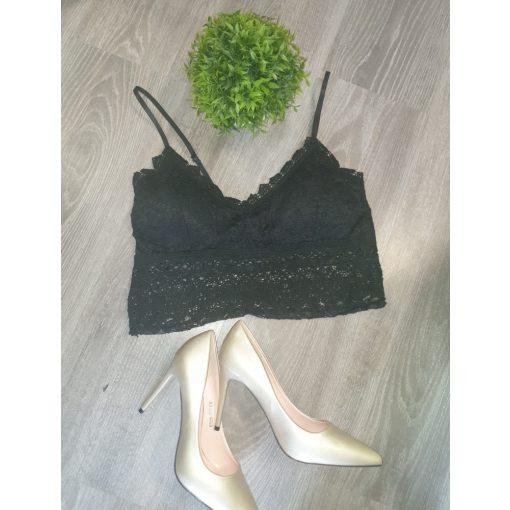 Fekete színű csipke mini top - Crop top