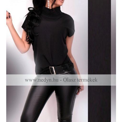 Fekete elegáns női garbós felső - Olasz Termék