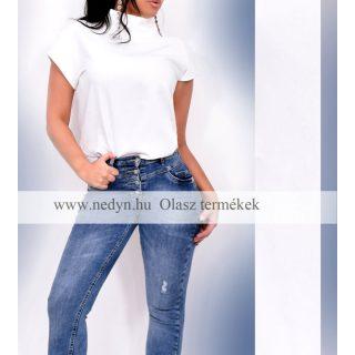 Fehér színű irodai blúz garbós elegáns business  női felső - Olasz termék