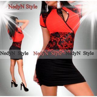 NedyN piros fekete csipke díszes ruha