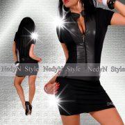 NedyN fekete cipzáros női ruha bőrhatású dísszel