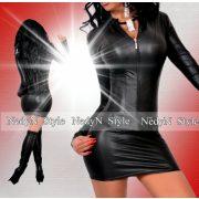 NedyN bőrhatású cipzáros női ruha