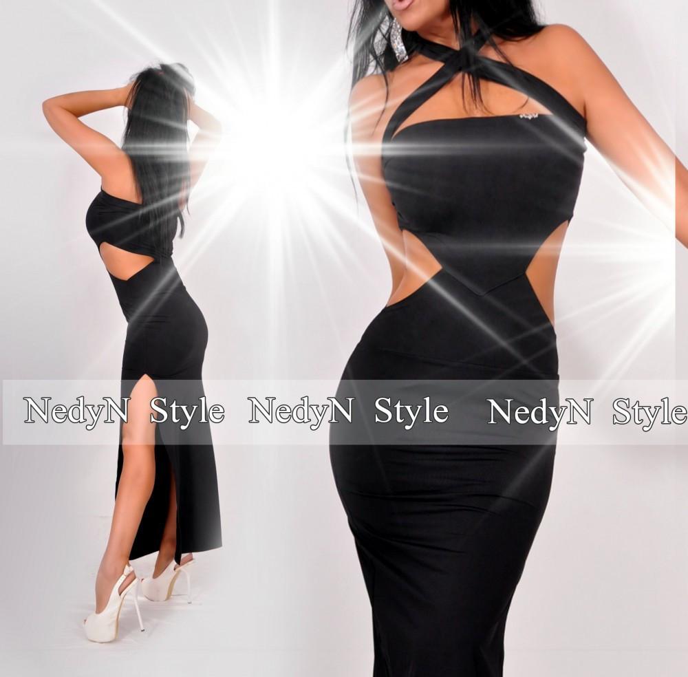 26fe512a9b NedyN oldalt nyitott fekete maxi ruha - NedyN női ruha webshop, Ruha ...