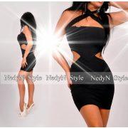 NedyN oldalán nyitott fekete mini ruha
