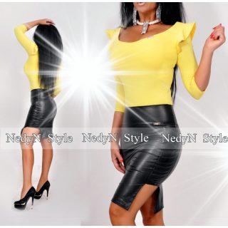 NedyN vállán fodros sárga poliamid női felső - szoknya nélkül 3b8bfc6e09