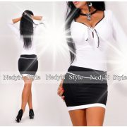 NedyN elegáns mellénél megkötős fekete fehér női ruha