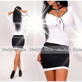 NedyN elegáns mellnél megkötős fekete-fehér ruha