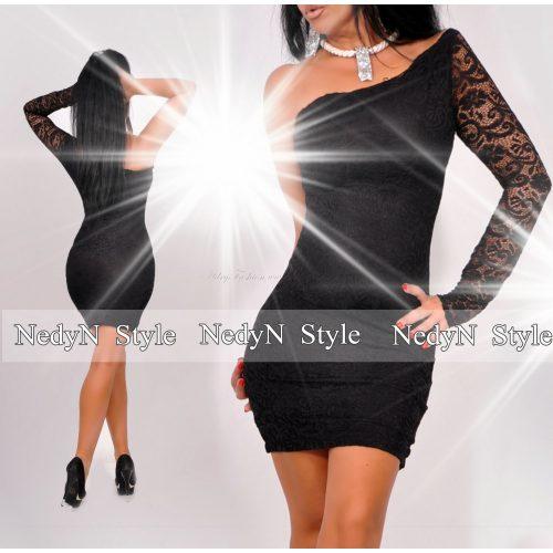 NedyN félvállas csipke díszes női ruha