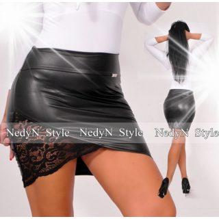 NedyN csipke betétes fekete bőrhatású szoknya