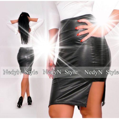 NedyN magasderekú fekete bőrhatású  szoknya